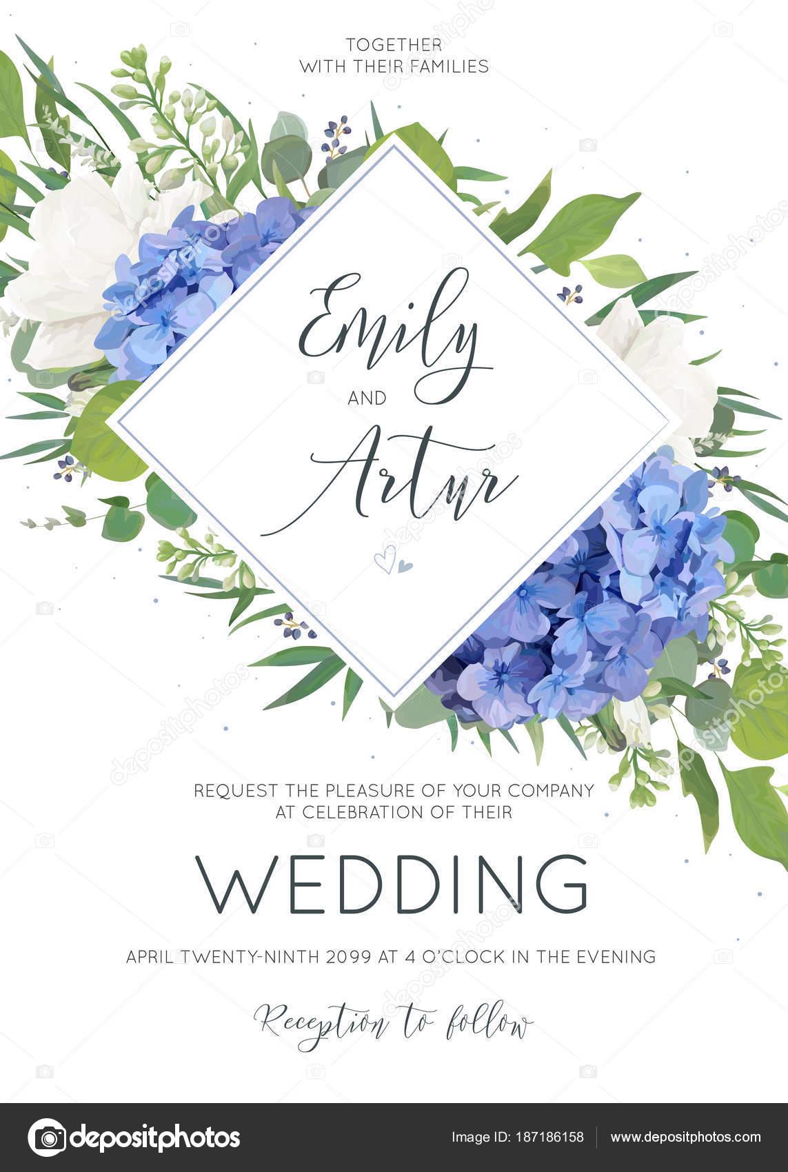 Hochzeit Blumen Einladung Einladungskarte Design Mit Eleganter