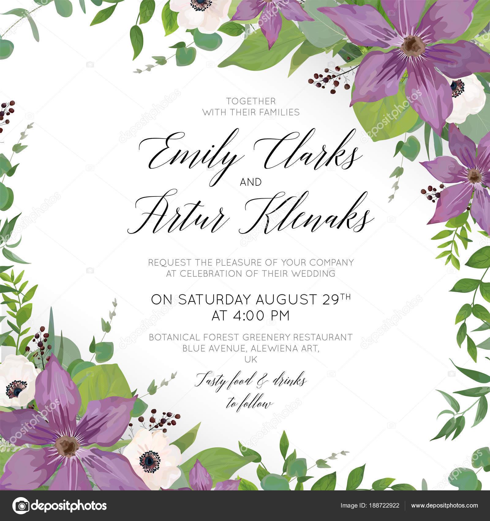 Hochzeit Blumen Laden Speichern Das Datum Kartendesign Mit