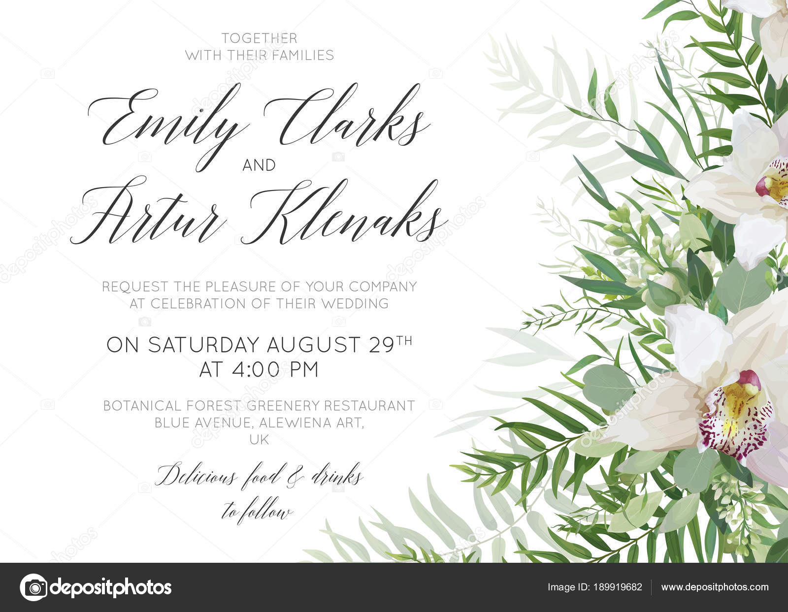 Wedding invite save the date card delicate design with white orchid ...