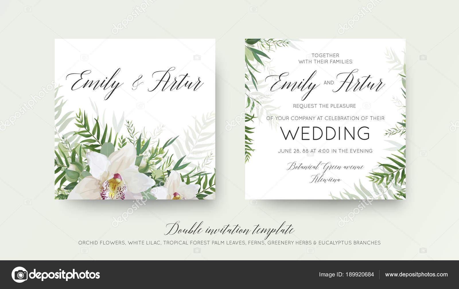Wedding double invitation, invite card design with elegant white ...
