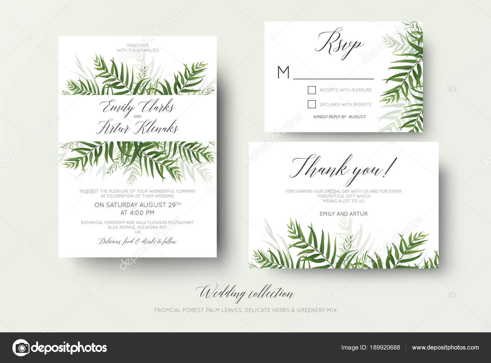 Wedding invitation, rsvp, thank you cards floral design with green ...