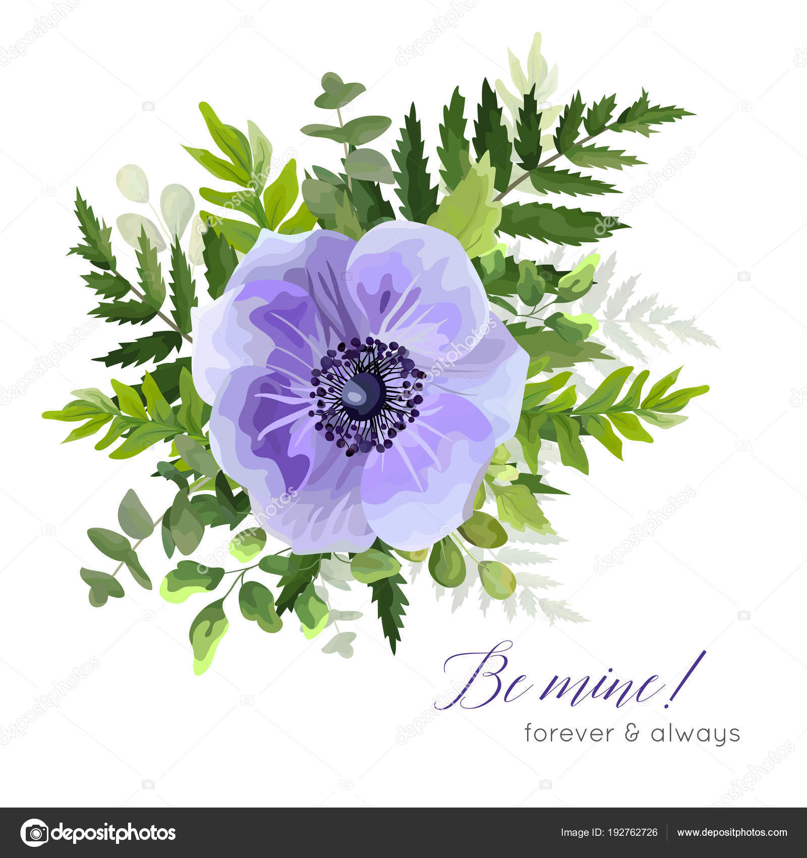 Vector Floral Elegant Botanical Card Design With Ultra Violet Blue Purple Garden Anemone Poppy Flowers Greenery Forest Ferns Green Leaves Cute Bouquet Beautiful Invite Postcard Greeting Template Stock Vector C Alewiena 192762726