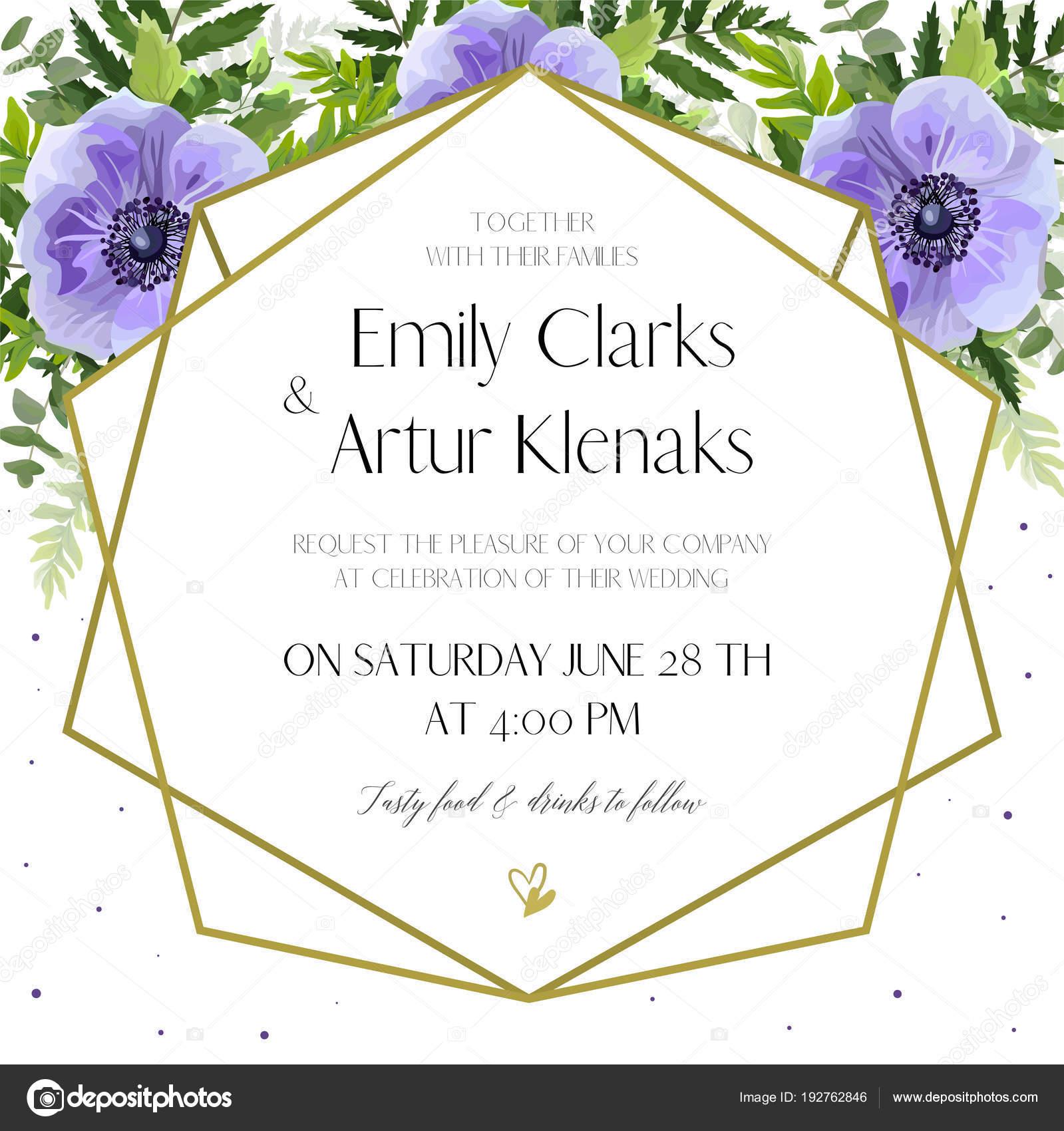 Wedding Invitation, floral invite card Design: ultra violet lavender ...