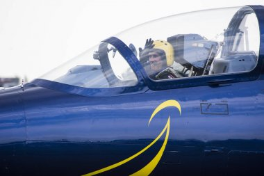 The Latvian Baltic Bees pilot in a  L-39 fighter cockpit during Airshow Radom 2017 in Poland.