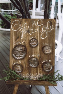 Wedding scheme for arranging guests on a wooden board . wedding decor