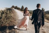 Fotografie wedding couple, newlyweds walking backs with a beautiful view of the mountains and forest
