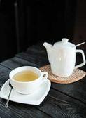 bílá rychlovarná konvice a šálek čaje na talířek na tmavém pozadí dřevěná