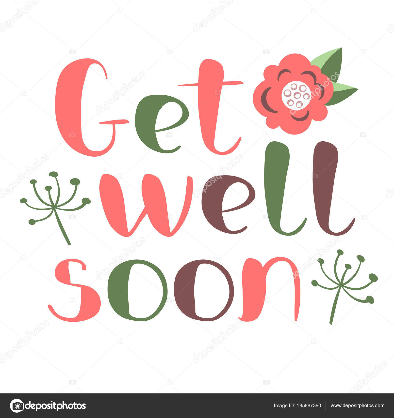 get well soon card with hand drawn lettering decorative poster with handwritten inscription vector graphics illustration editable vector shapes vector
