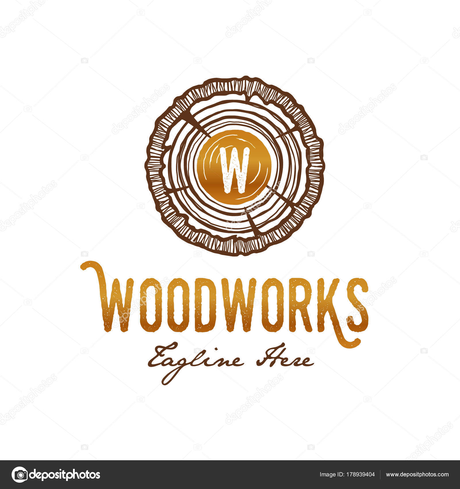 Wood Works Carpenter Logo Growth Rings Classy Concept Detail Wood