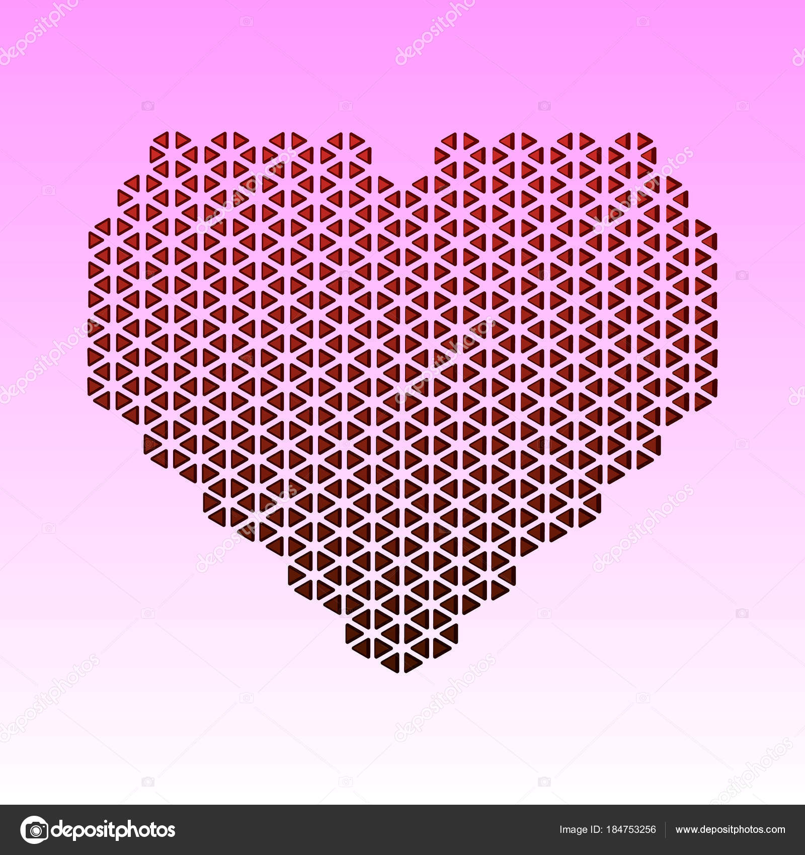 abstract vector card with red heart made of triangles a mosaic