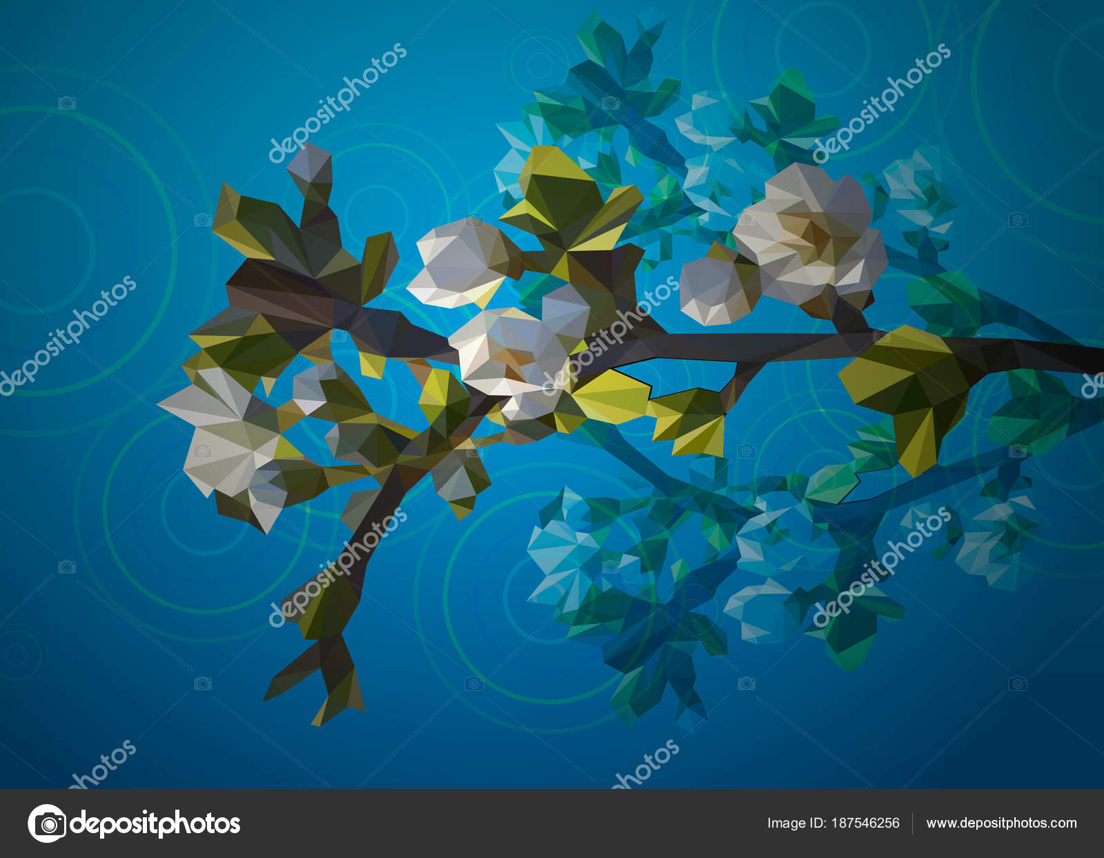 Blooming Branch Of A Tree With White Flowers From Triangles Spring