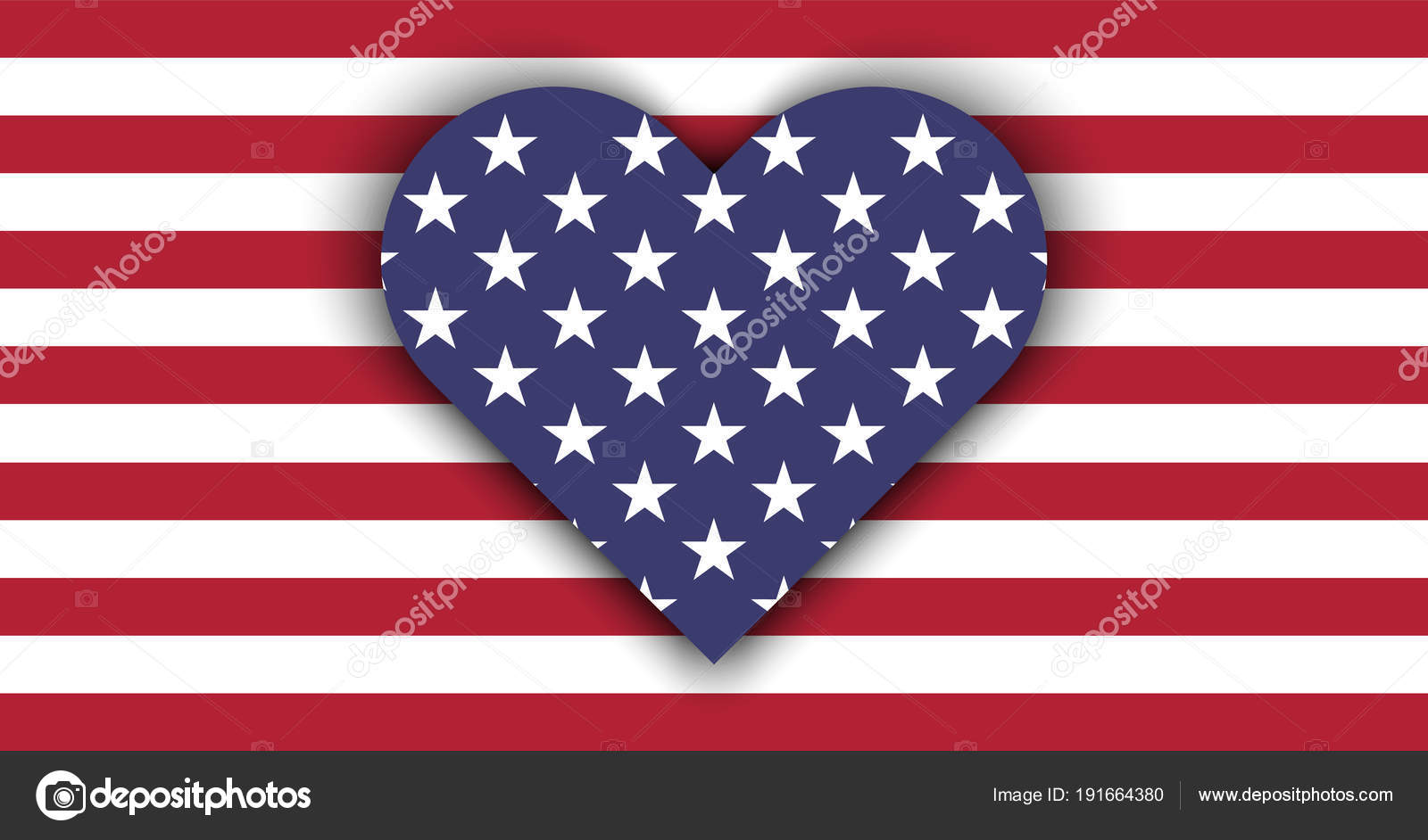 Love Usa Flag Heart Shadow Independence Day July Valentine Day