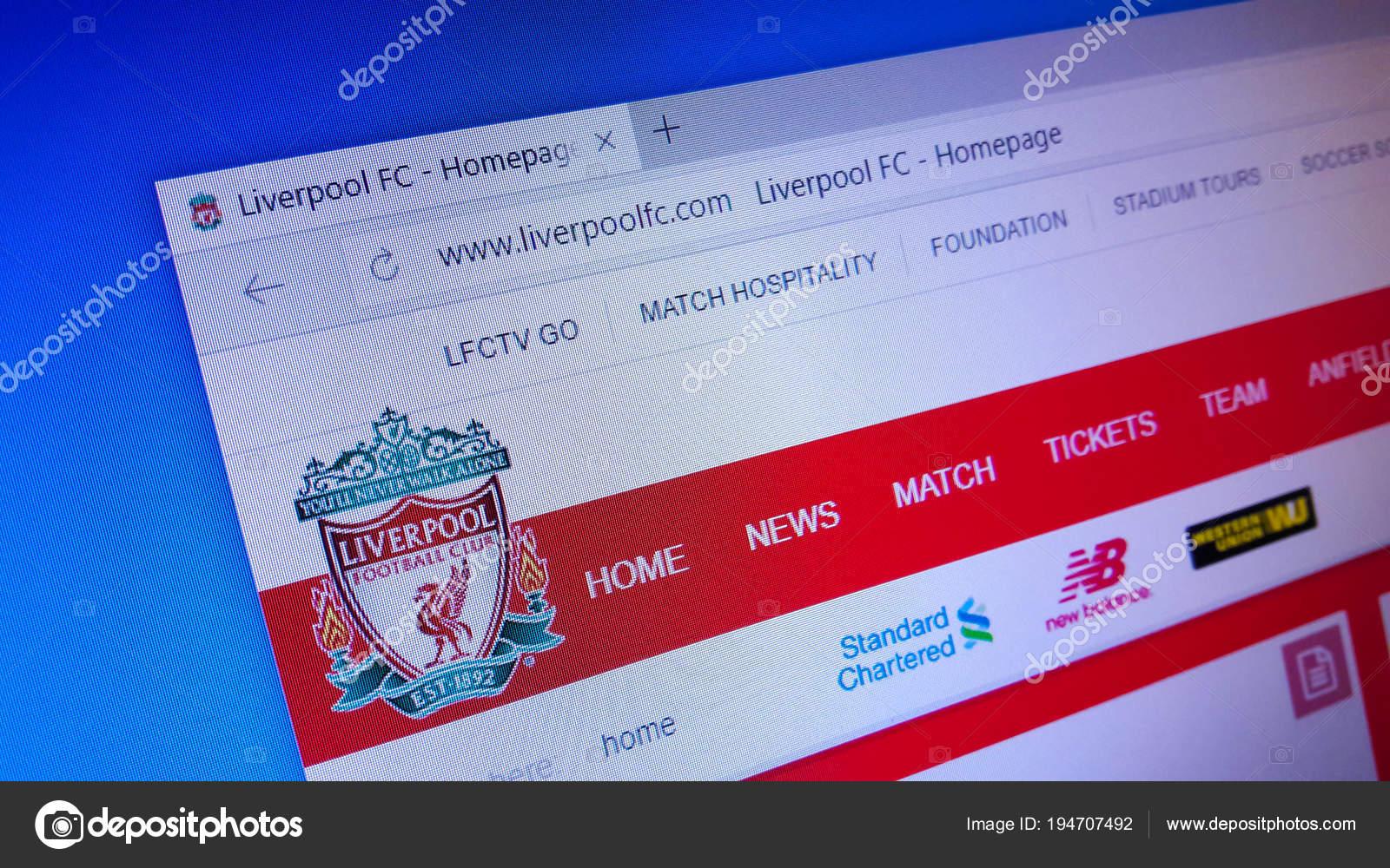 webová stránka s Liverpoolem