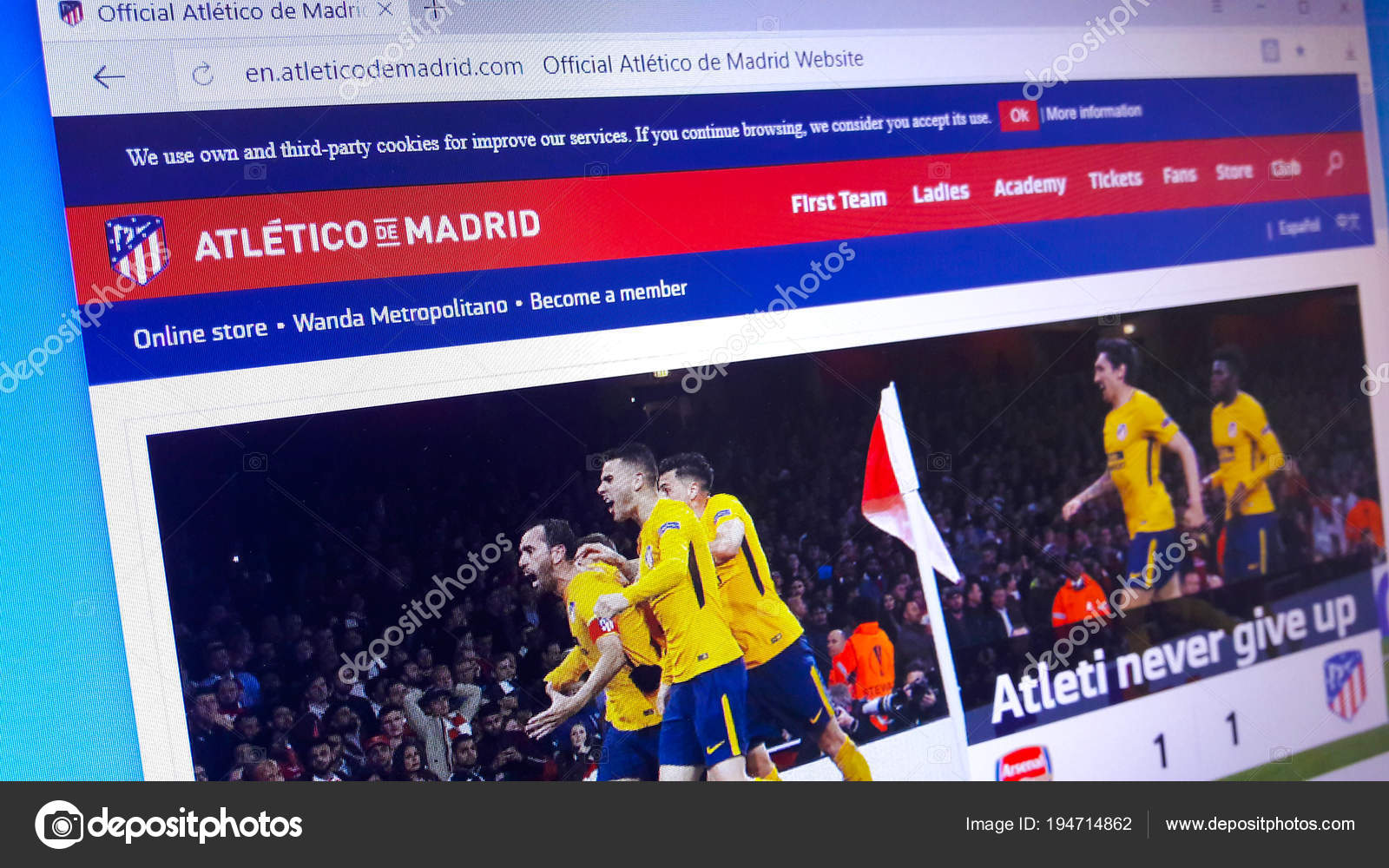 784f695c43f Minsk, Belarus - April 27, 2018: The homepage of the official website for Atletico  Madrid, a Spanish professional football club based in Madrid, ...
