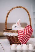 Photo adorable white easter rabbit sitting in basket