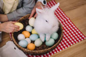 Fotografie easter rabbit sitting in basket with eggs