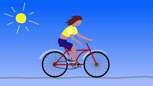 Cyklistické dívka. Slunečný den. Kreslené