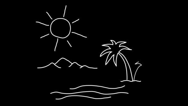 Slunečný den na moři. Kreslené