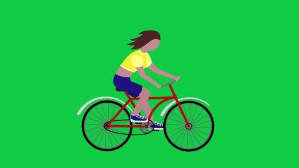 Cyklistické dívka, zelená obrazovka. Kreslené