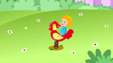 Girl rocking on a rooster swing on a green grass. Seamless looping