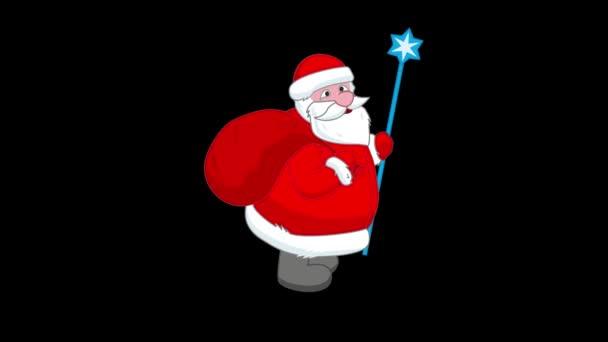 Santa Claus s velkým taštička platí i pro vánoční bezešvé smyčka a Luma matný