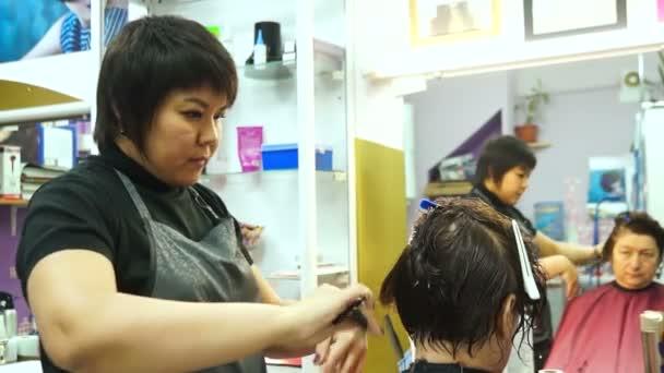 Žena, která dělá vlasy v salonu krásy