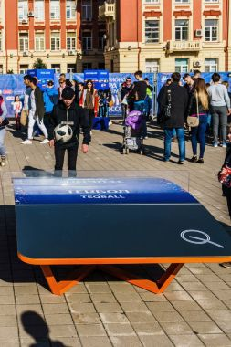 Rostov-on-Don / Russia - 1 April 2018: Many people, wolf Zabivaka and souvenirs in the park dedicated to the FIFA soccer World Cup 2018 at the Theater Square in the organizer of Rostov-on-Don
