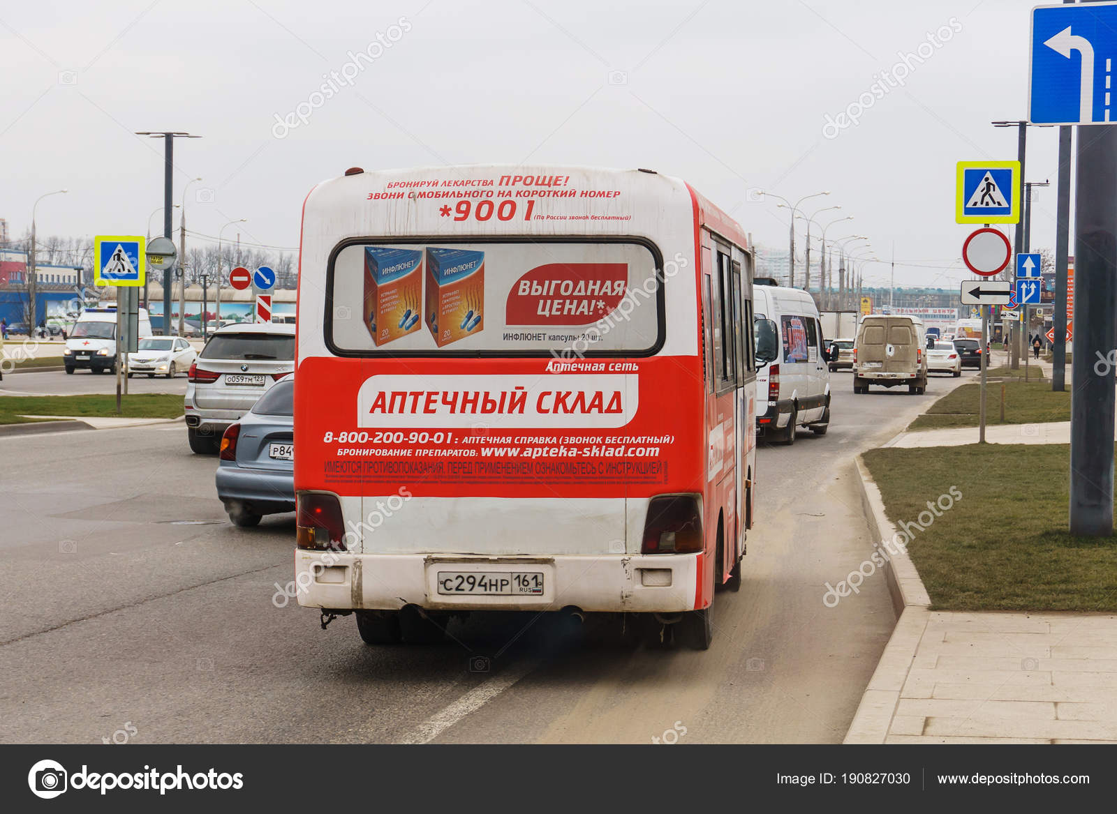 Krasnodar Russia March 2018 City Shuttle Bus On The Streets Of The City Spreads Locals And Tourists Stock Editorial Photo C Kolt Duo 190827030