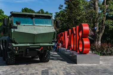 Rostov-on-Don / Russia - May 2018: Static exhibition of real military equipment near the entrance to Gorky Park during the parade