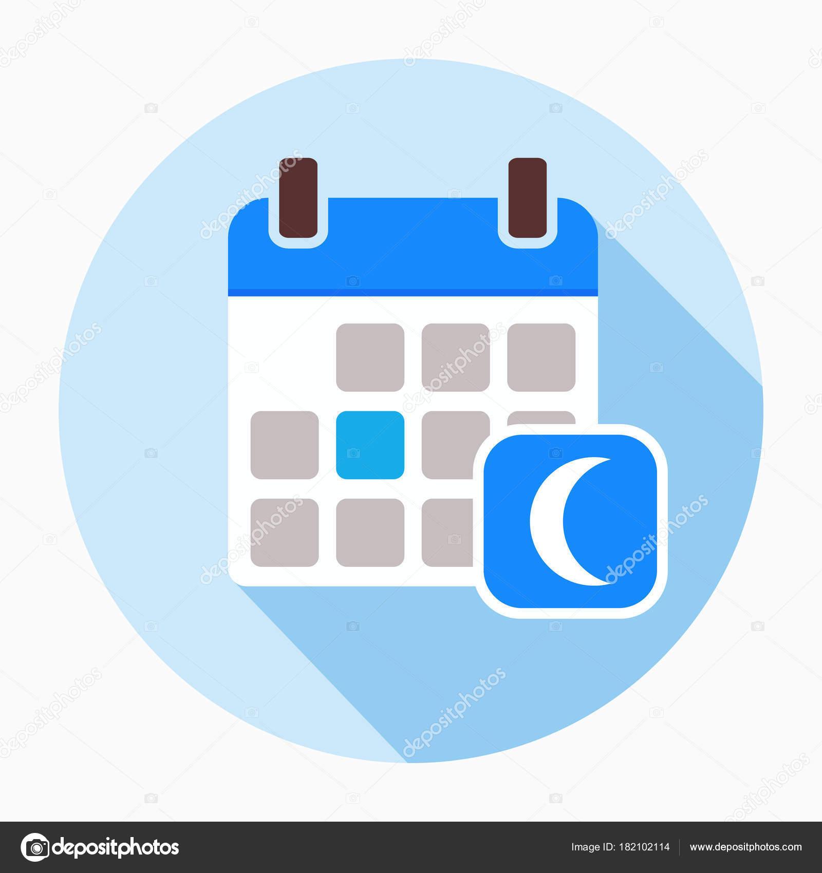 Simboli Luna Calendario.Calendario Con Vettore Icona Della Luna Vettoriali Stock
