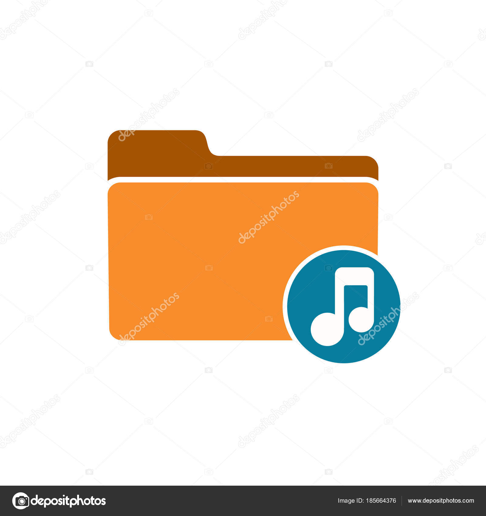 Audio folder media music note player sound icon — Stock