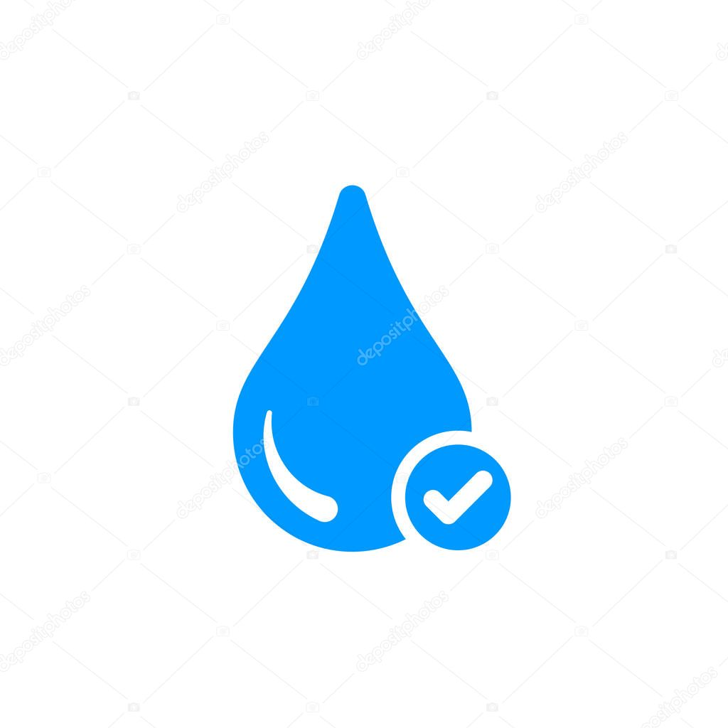 Water icon with check sign. Water icon and approved, confirm, done, tick, completed symbol
