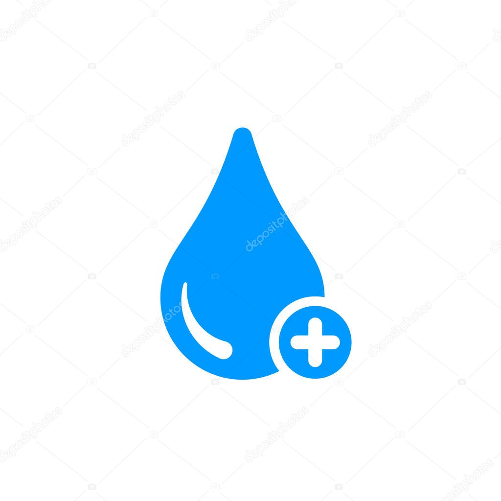 Water icon with add sign. Water icon and new, plus, positive symbol