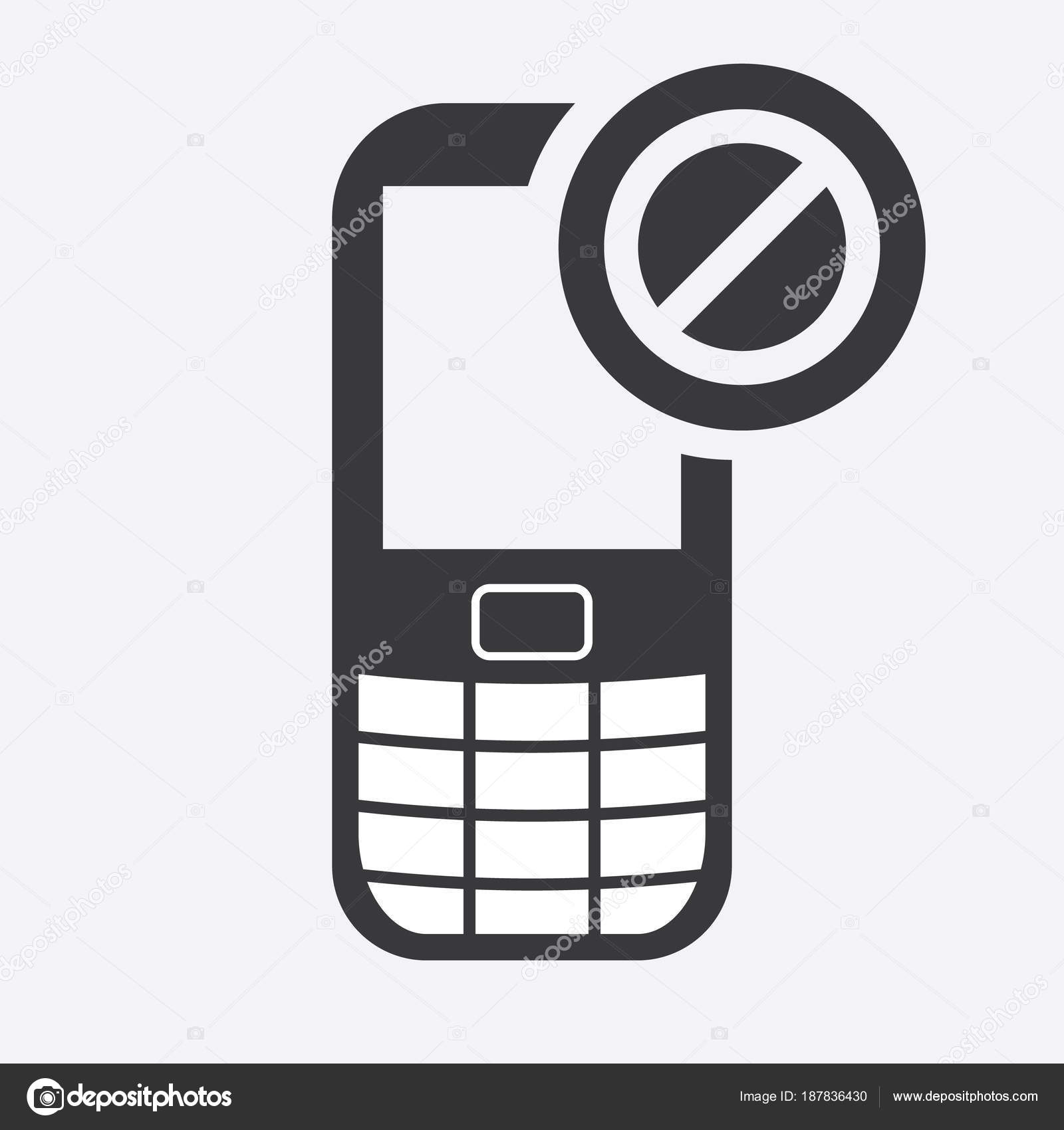 Cell phone icon with not allowed sign. Cell phone icon and block ...