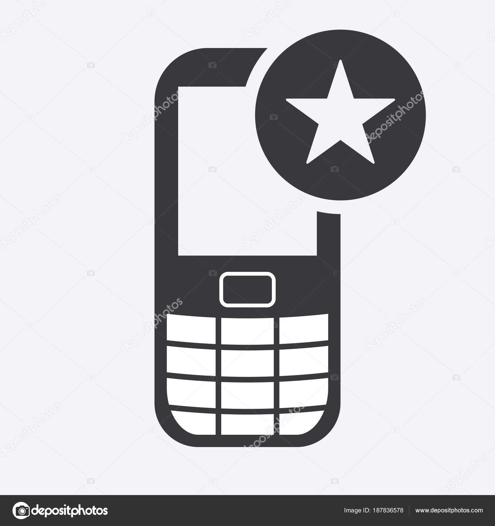 Cell Phone Icon With Star Sign Cell Phone Icon And Best Favorite