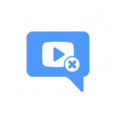 Video Chat icon with cancel sign. Video Chat icon and close, delete, remove symbol