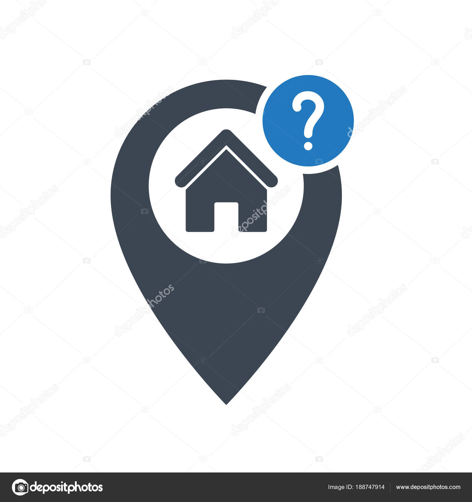 Address icon with question mark  Address icon and help, how
