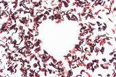 pohled shora srdce s ibišek čaj izolované na bílé, Valentýn koncept