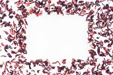 top view of frame made with hibiscus tea isolated on white