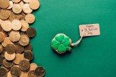 shora, že poleva cookie ve tvaru shamrock a zlaté mince na zelené, st patricks day koncept