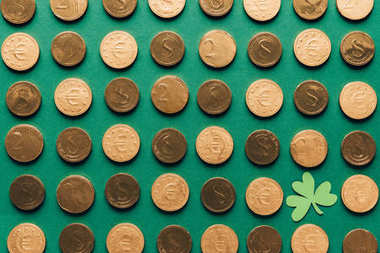 top view of pattern of golden coins and shamrock on green, st patricks day concept