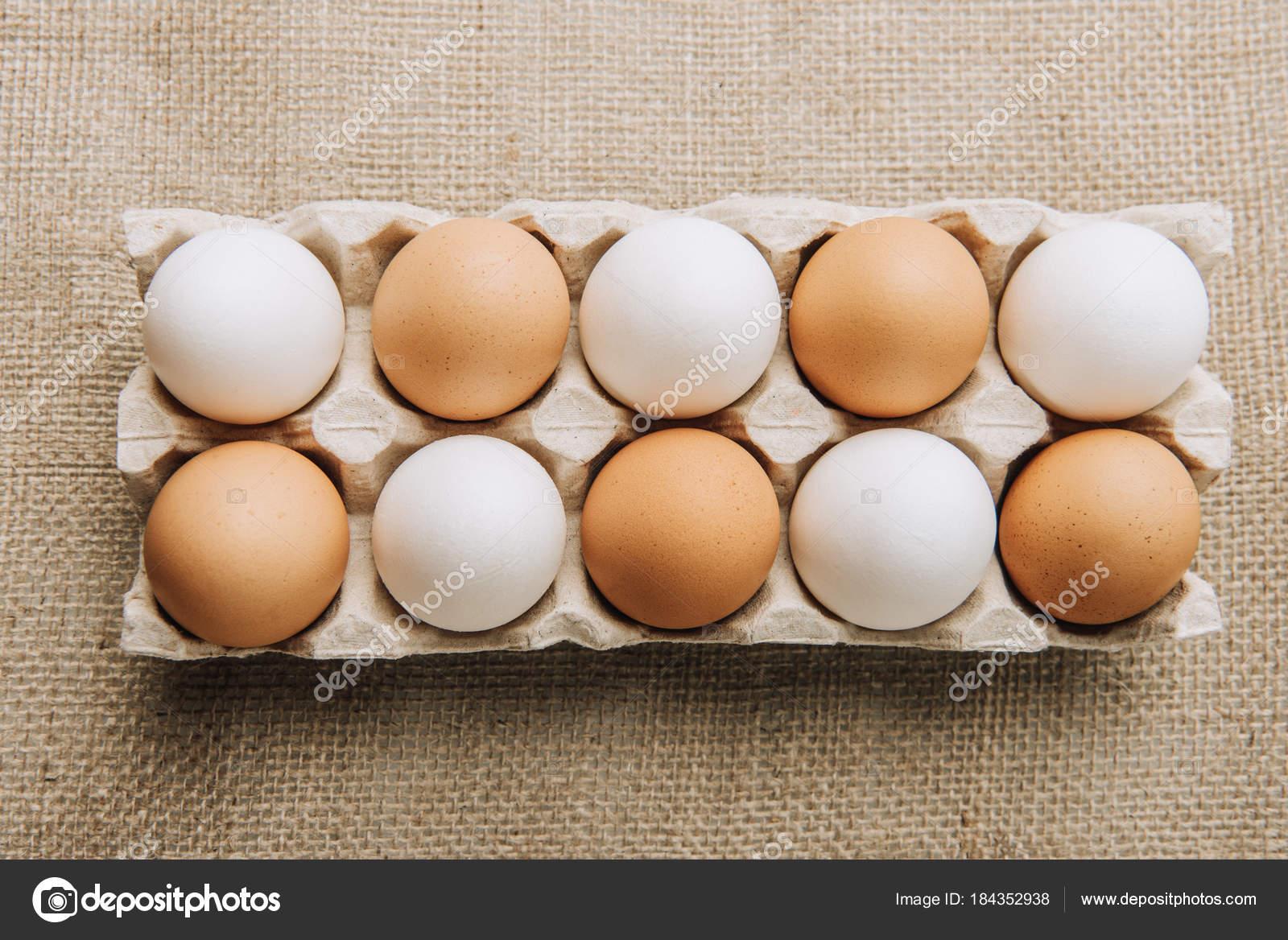 White Brown Eggs Laying Egg Carton Sackcloth