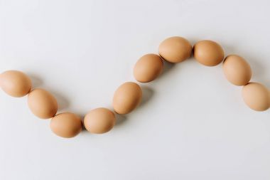 brown eggs laying on white background