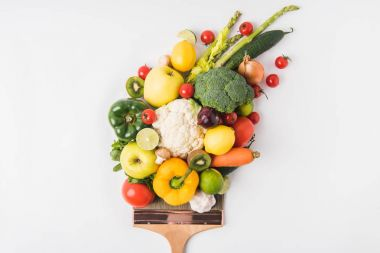 Farmers market concept with vegetables and fruits on brush isolated on white background