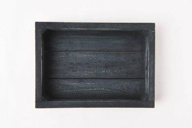 Empty dark wooden box isolated on white background
