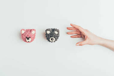 cropped shot of hand and delicious cakes in shape of bears isolated on grey