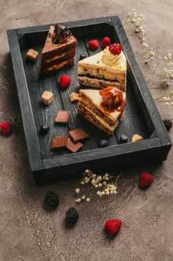 close-up view of pieces of delicious cakes with chocolate and berries on wooden tray