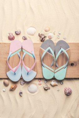 Flip flops and seashells on wooden pier on light sand