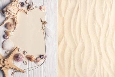 Summer travel template with seashells on light sand