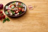 vynikající italský zeleninový salát panzanella sloužil na talíři na dřevěném stole v blízkosti čerstvých ingrediencí